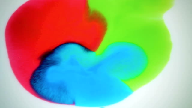 Beautiful movement of bright colors on a white background video