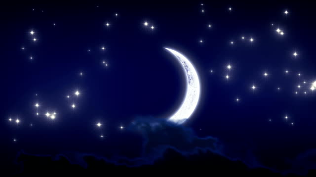Beautiful New Moon with Stars and Clouds video