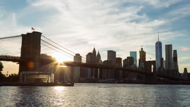 Beautiful New York City Sunset Brooklyn Bridge and Lower Manhattan Day Timelapse video