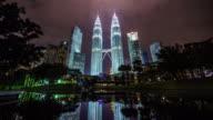 beautiful night light towers view 4k time lapse from kuala lumpur malaysia video