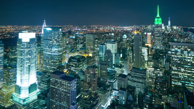 beautiful night new york city view from the roof 4k time lapse video
