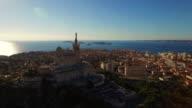 AERIAL Beautiful Notre Dame de la Garde in Marseille video