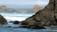 Beautiful ocean waves rugged rocky coastal California HD video