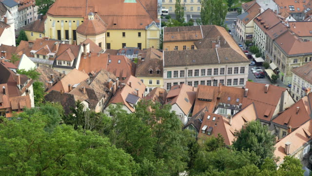 Beautiful old church in Ljubljana, nature and cultural heritage conservation video