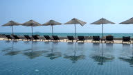 Beautiful outdoor swimming pool in hotel and resort video