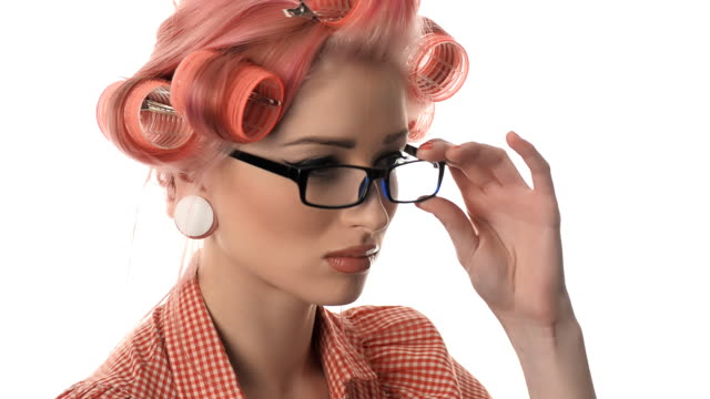 beautiful portrait of pin-up girls with glasses video