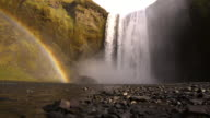 Beautiful Rainbow by the Skogafoss waterfall in Iceland video