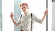 Beautiful red hair woman giving presentation video