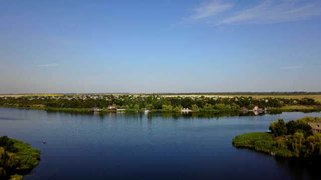 Beautiful River Landscape Aerial View Of Small Village, Drone Shot Of Rural Summer Horizon video