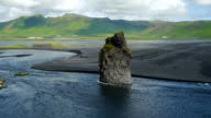 Beautiful rock formation on a black volcanic beach at Cape Dyrholaey, Iceland. video