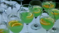 Beautiful row line of alcohol cocktails video