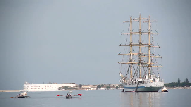 beautiful sailing ship in the port at anchor video