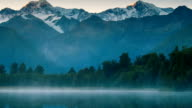 Beautiful scenery landscape of the Matheson Lake Fox Glacier town Southern Alps Mountain Valleys New Zealand video