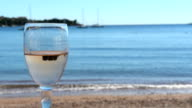 Beautiful sea view and glass of wine video