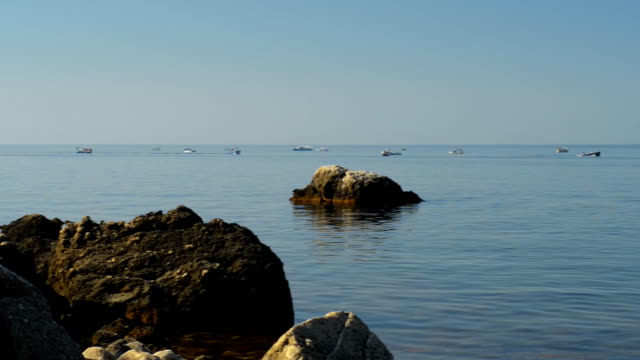 Beautiful seascape and a lot of little boats that sail video