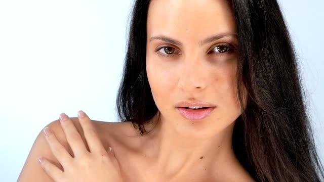 Beautiful sexy young girl flirts , slow motion video