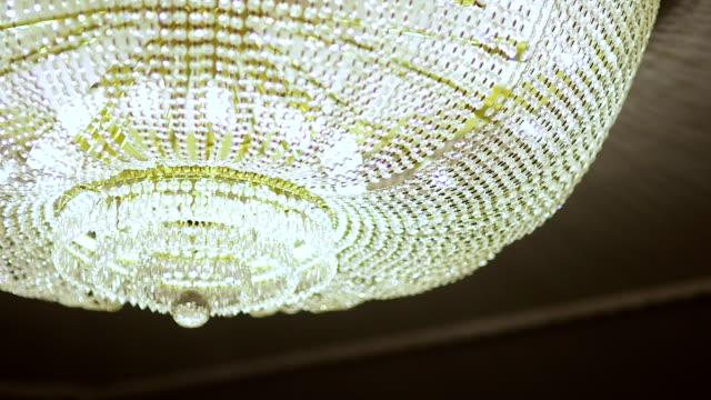 Beautiful shining elegant crystal chandelier video