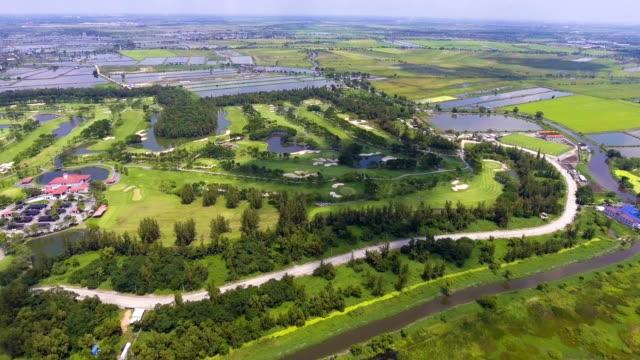 Beautiful shot of Green Golf Club in Morning, Aerial Shot. video