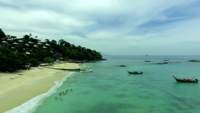 Beautiful shot of Phi Phi Island and Beach, Aerial view video