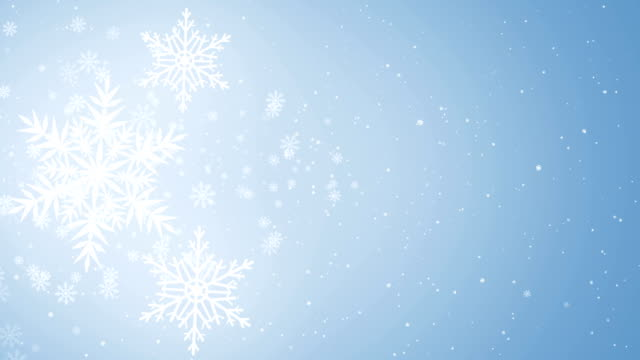 Beautiful Snowflakes - winter background.  Seamless loop video