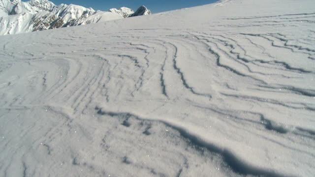 Beautiful snowy mountain crane shot video