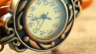 Beautiful sophisticated vintage women's watch macro. video