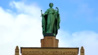 Beautiful statue of Lady Justice atop municipal building in Munich, Germany video