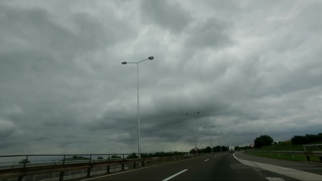 Beautiful stormy sky above highway video