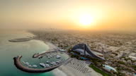 Beautiful Sunrise. Aerial View of Jumeirah Beach from Burj Al Arab, Dubai, UAE timelapse video