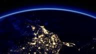 Beautiful Sunrise over the United States of America. Sun Rising over the Earth. Cities at Night. 3d animation in HD. Used Photos from NASA. video