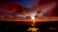 Beautiful sunrise over tropical island and ocean, godrays video