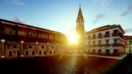 Beautiful sunrise over Venetian buildings surrounded by water video