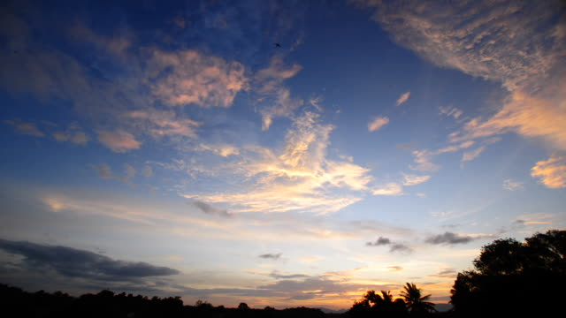 Beautiful sunset above tropical forest  time lapse video