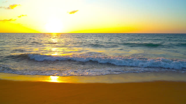 Beautiful sunset and sea on the beach video