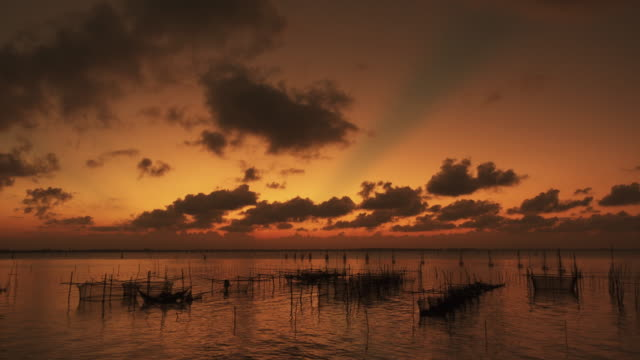 Beautiful sunset at fisherman village video