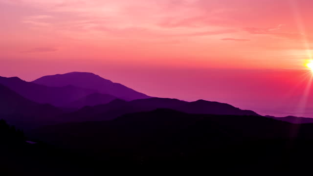Beautiful Sunset at Mountains and Sea. HD 1080. video