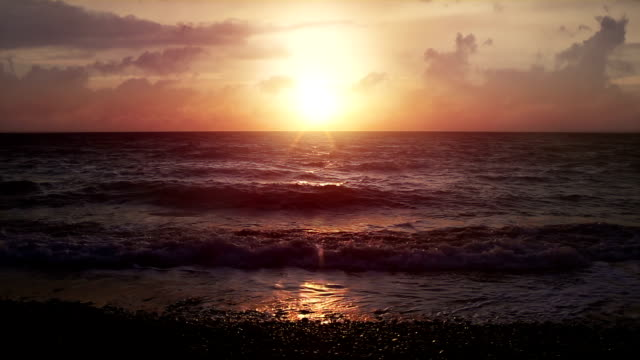 Beautiful sunset at the beach video