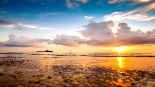 Beautiful sunset at tropical sea time lapse video