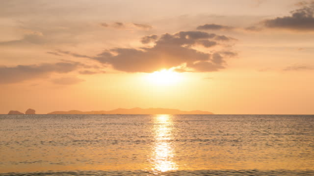 4K : Beautiful sunset at tropical sea video