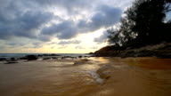 Beautiful sunset on the beach and sea video