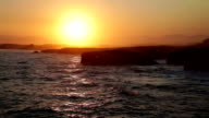 Beautiful sunset over As Catedrais beach in Spain video