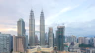 Beautiful sunset over Kuala Lumpur skyline video