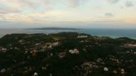 Beautiful sunset over sea,island aerial view. Boracay island Philippines video