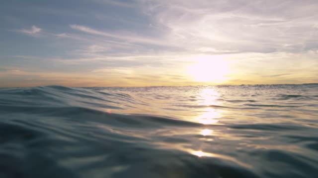 Beautiful sunset over the open ocean video