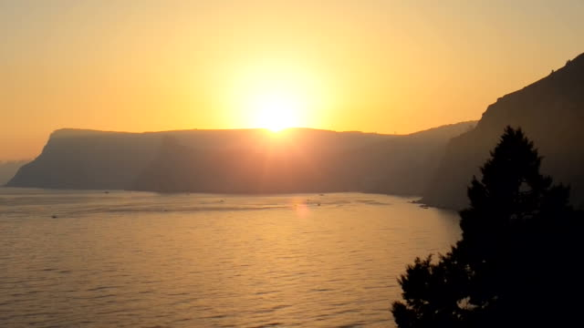 Beautiful sunset over the sea.Time lapse video