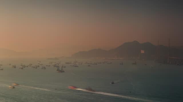 beautiful sunset port traffic 4k time lapse from hong kong video