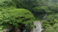 AERIAL: Beautiful tall cascade splashing over rocky ledge in amazing lush jungle video