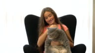 teenage girl, obese cat video