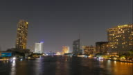 Beautiful Time lapse Bangkok city at dusk to night with lighted boats on the Chao phraya river video