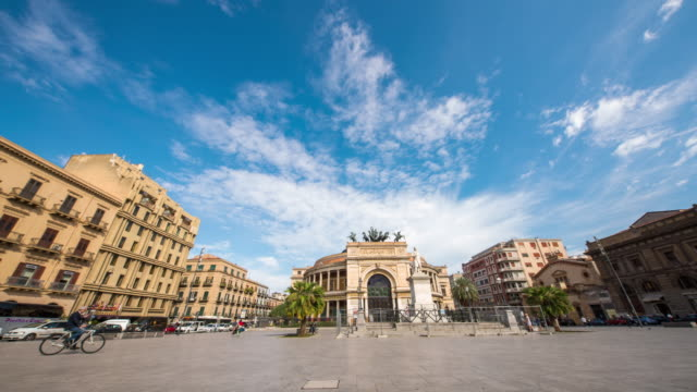 T/L Beautiful time lapse on Piazza Politeama in Palermo video